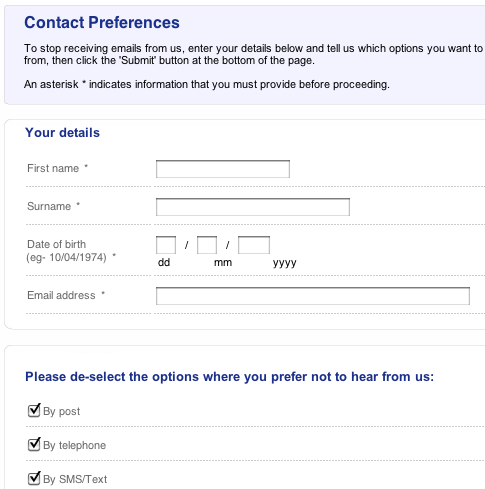 Tesco compare unsubscribe form